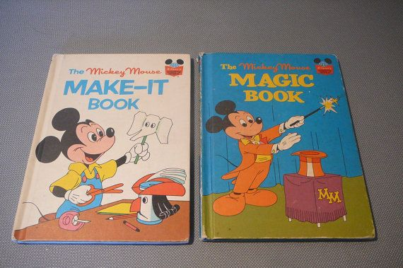 Set of two Disney Mickey Mouse books 1970's by VintageBookMarket, $7.25