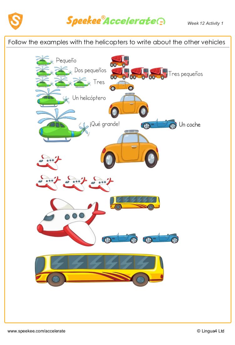 Spanish Counting Worksheet For Young Children Small Cars Spanish Printables Homeschool Spanish [ 1100 x 750 Pixel ]