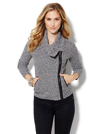 be2f9c4a0c Shop Faux-Leather Trim Moto Sweater Jacket. Find your perfect size ...