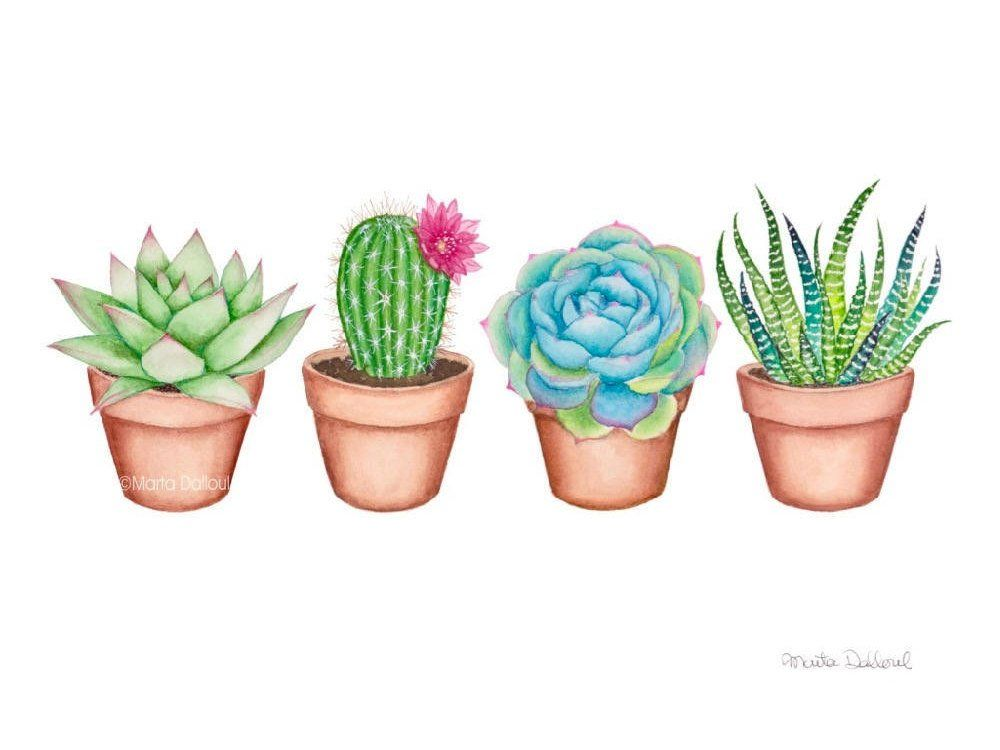 Succulent watercolor art print. Cactus painting. Plant wall | Etsy ...