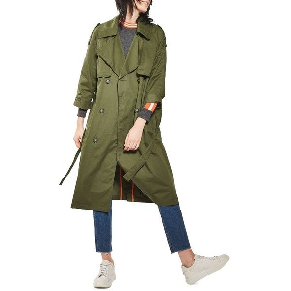 Women's Topshop Embroidered Trench Coat ($210) ❤ liked on Polyvore  featuring outerwear, coats