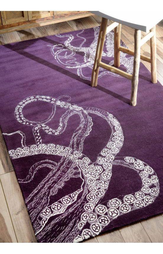 Sierra Octopus Tail Midnight Rug Purple Furniture Purple Rug Handmade Home Decor