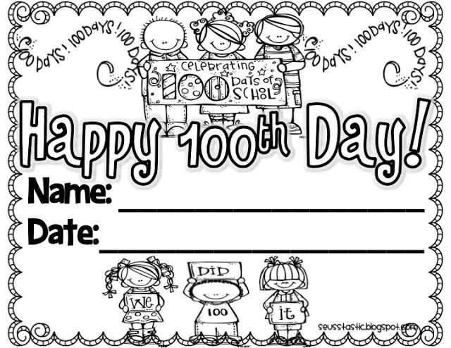 graphic about 100 Days Printable known as Excellent Free of charge 100th Working day of University Printable Actions and