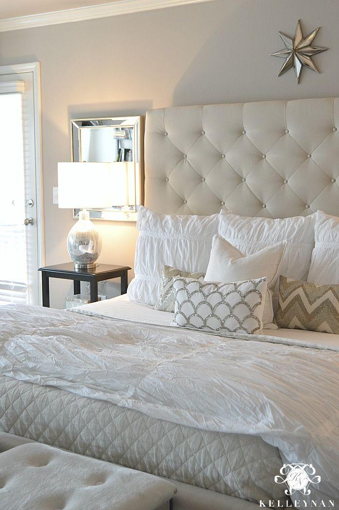 Master Bedroom Update Kelley Nan Beige Headboard Bedroom Upholstered Headboards Bedroom Bedroom Makeover Before And After