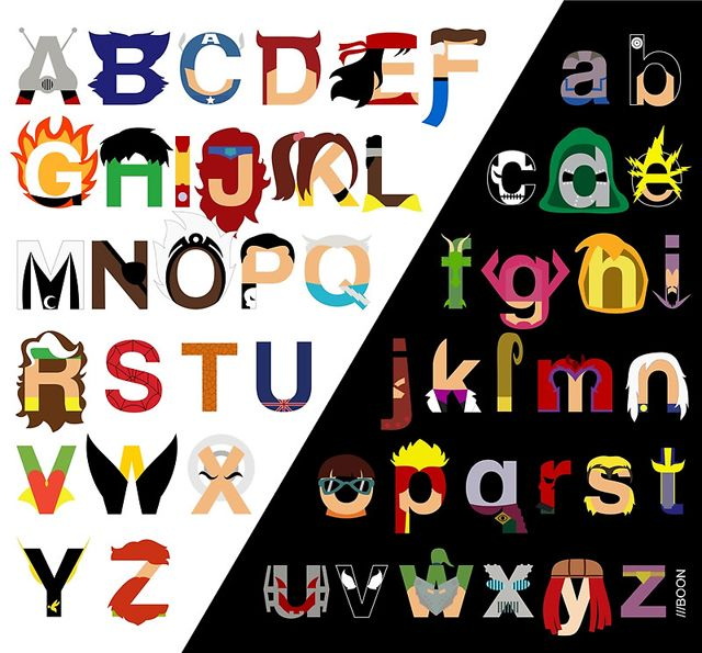 Marvelphabet, A Typographic Marvel Comics Alphabet by Mike Boon