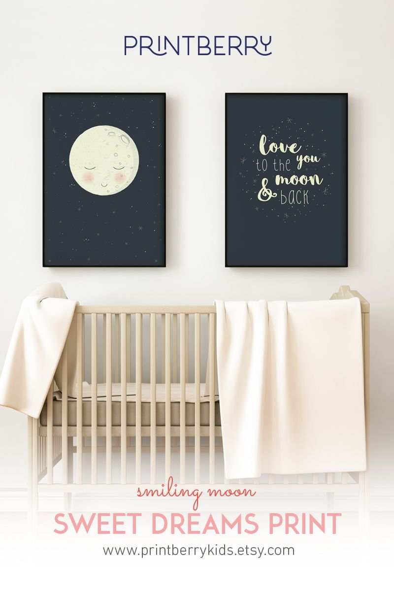 Baby Room Kids Bedroom Love You To The Moon Wall Art Nursery Print