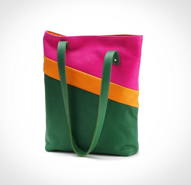 Leder Shopper mit Innenfach und Verschluß, grün, pink, orange // leather bag, green, pink, orange by lilis Tasche via DaWanda.com