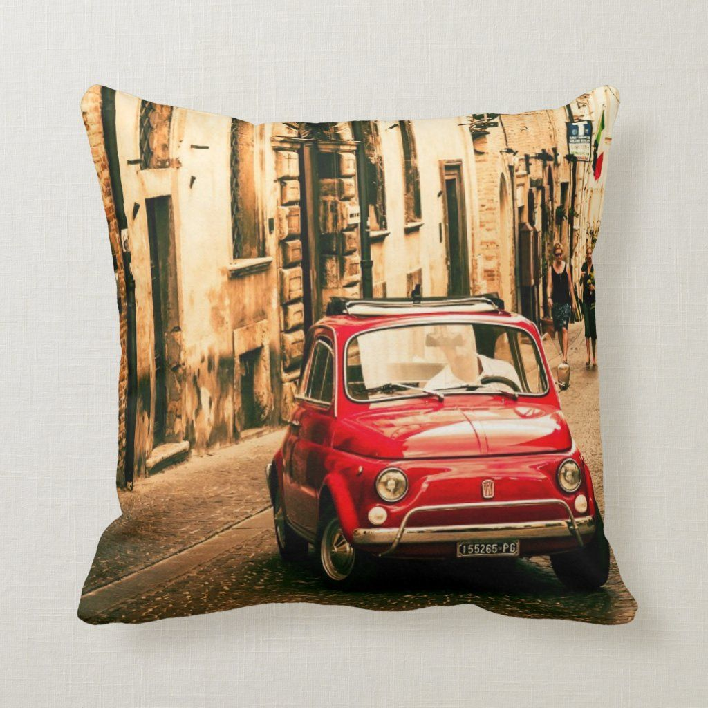 Red Fiat 500 in Italy, classic car cushion Throw Pillow