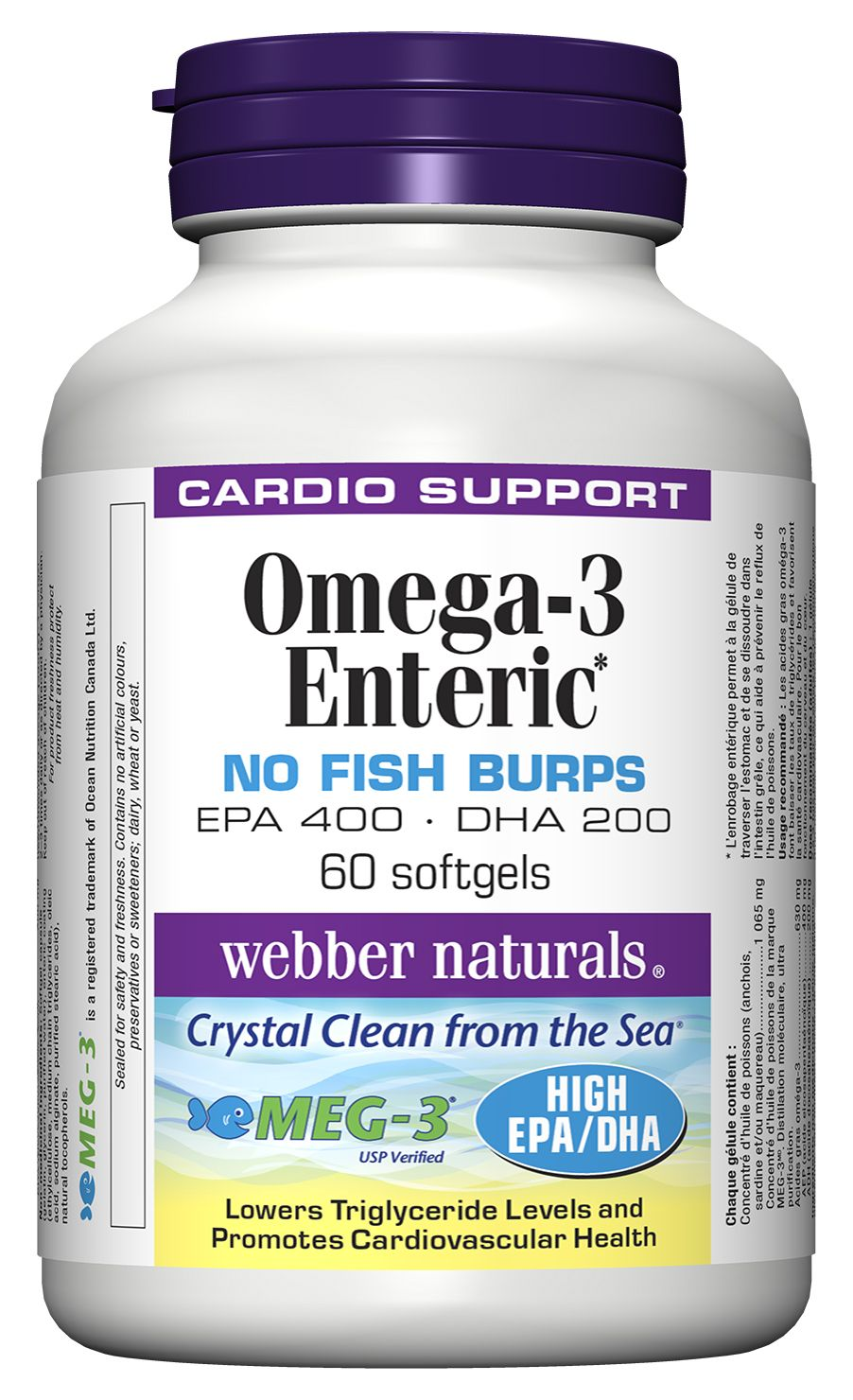 Omega–3 Enteric No Fish Burps, EPA400 • DHA200 from webber naturals® is a high potency formula that is standardized to provide 400 mg EPA and 200 mg DHA. It lowers triglyceride levels and promotes cardiovascular health. Each softgel has an enteric coating to eliminate the chance of heartburn or reflux. #vitamin #age