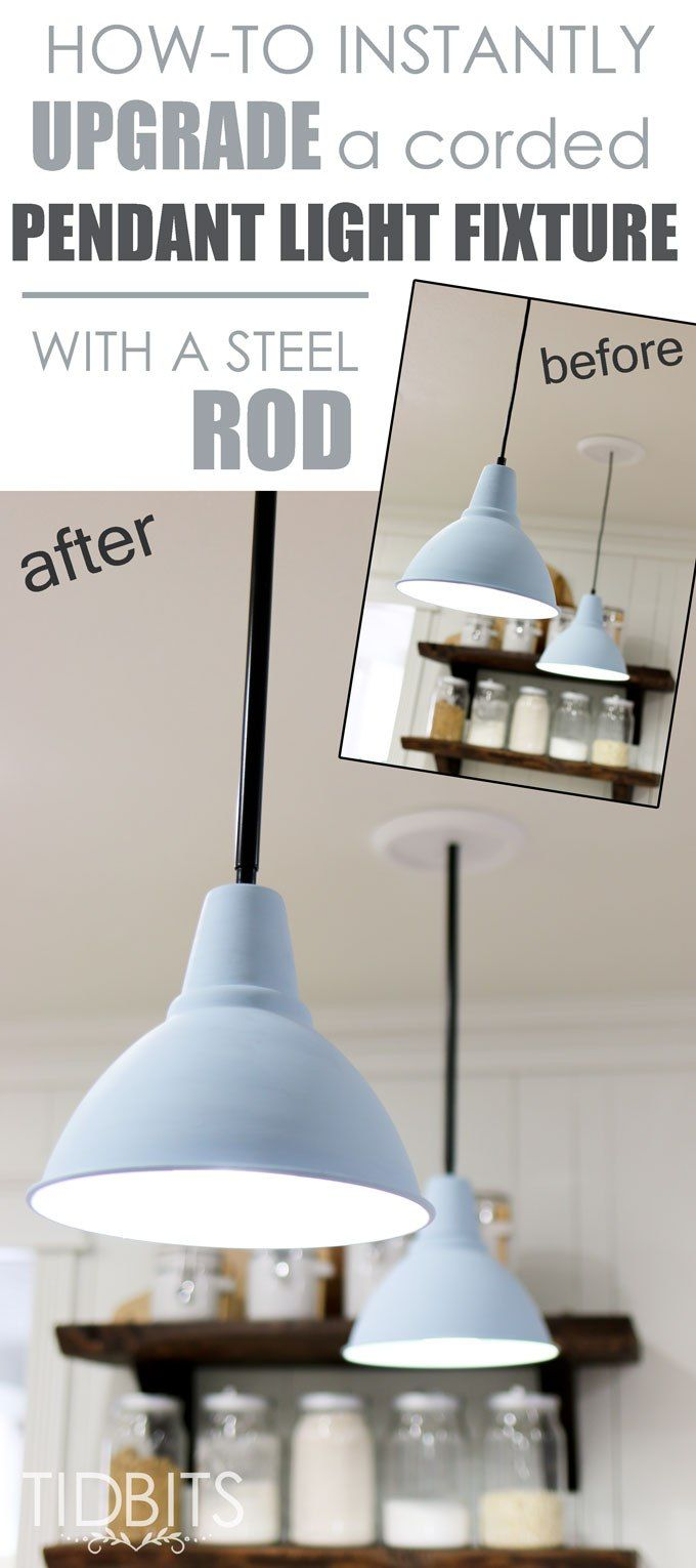 How To Instantly Upgrade A Corded Pendant Light Fixture With A Steel Rod Pendant Light Fixtures Ikea Pendant Light Pendant Light