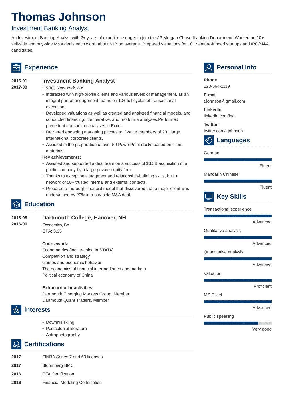 32 Luxury Investment Banking Resume Template in 2020