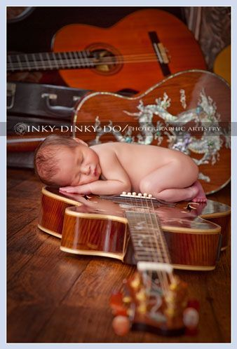 Newborn guitar photography for the future