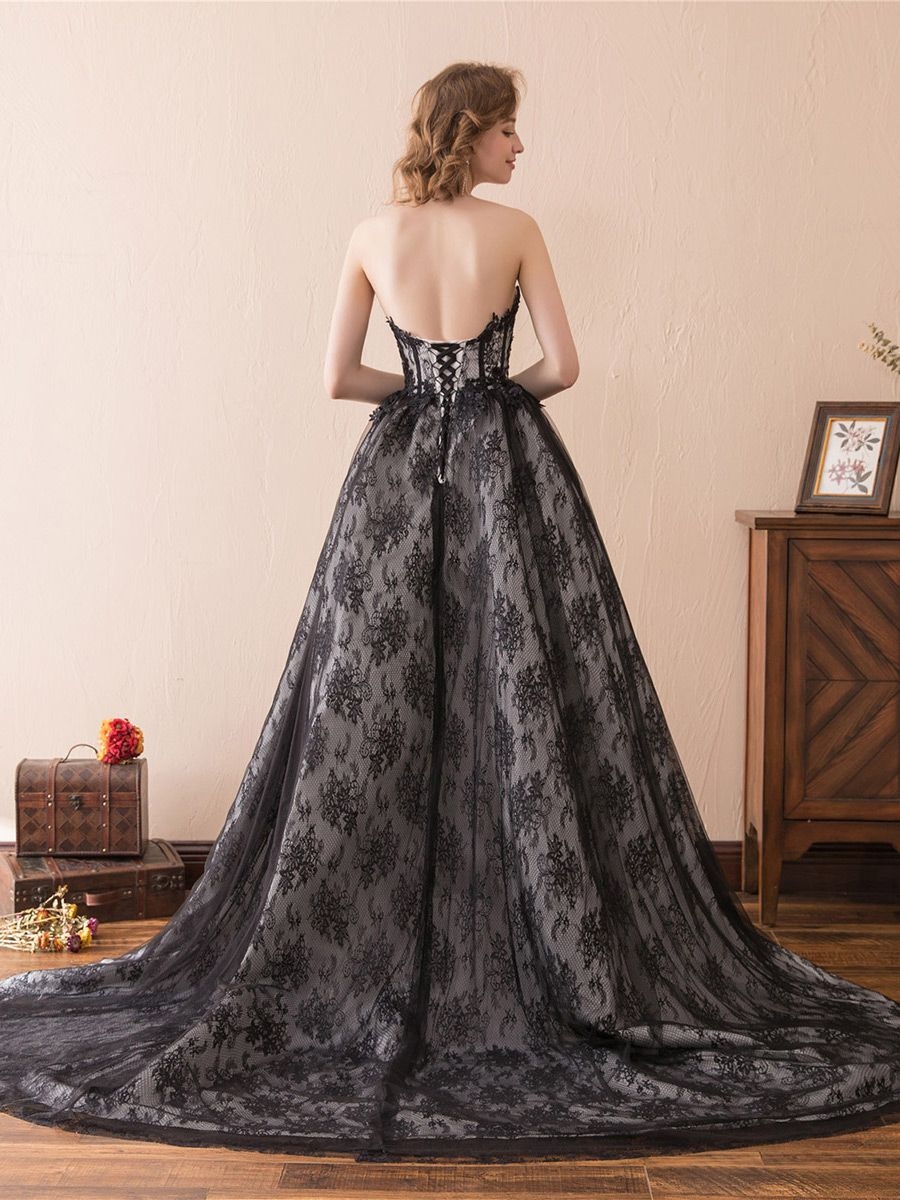 148 99 Strapless All Lace Black Formal Dress Long With Train For Woman Ch6681 Gemgrace Com Black Dress Formal Formal Dresses Long Long Black Dress Formal [ 1200 x 900 Pixel ]