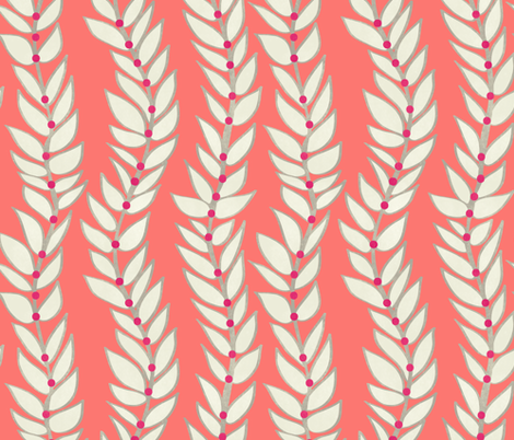 Leaf Stripe Dot Coral fabric by mjmstudio on Spoonflower - custom fabric