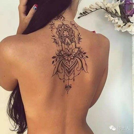 Tatuajes Mandalas Mujer Espalda Sexy Negro Sencillo Tatuajes