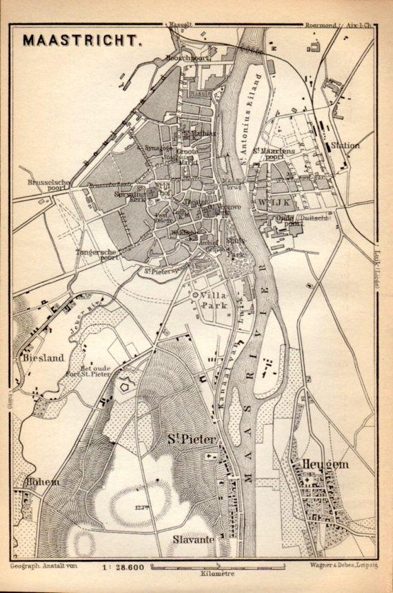 1897 Maastricht Netherlands Antique Map Vintage Lithograph