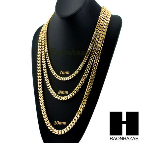 42e388d5c79df Miami-Cuban-Yellow-14k-Gold-Plated-7-10mm-wide-24-30-36-Curb-Chain ...