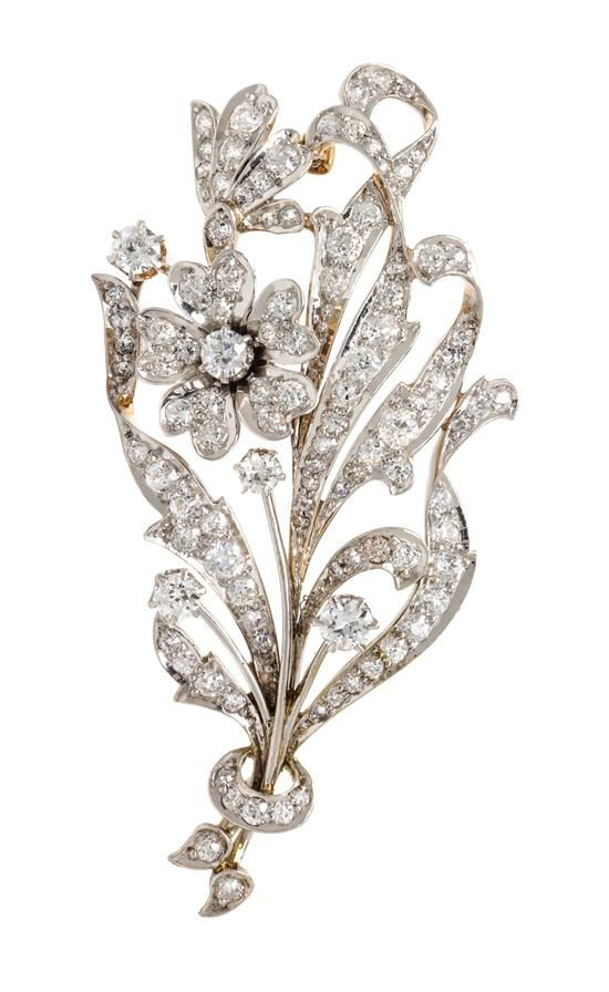 f61fe5d67 An Edwardian Platinum Topped Gold and Diamond Flower Brooch ...