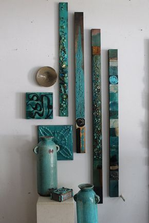 Ocean Beach Blue Green Sea Totem Collage Totems Organic Seaglass Minerals Tin Metal Abstract Modern Boho Contempory Wall Scupture Assembages