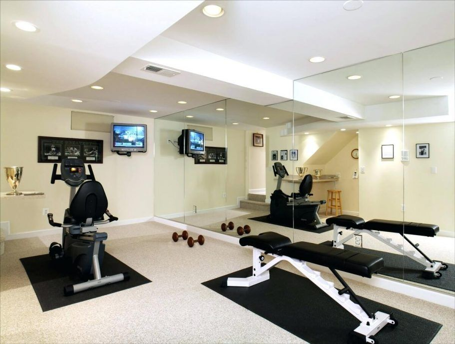 Basement basement exercise room home gym wall mirror workout