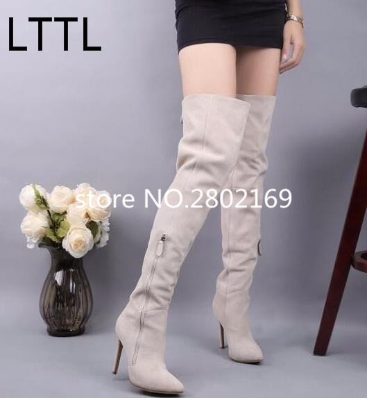 93.29$  Buy now - http://alicax.worldwells.pw/go.php?t=32787817571 - European Designer Ivory White Suede Leather Pointed Toe Fashion Side Zipper Winter Over The Knee Thin High Heels Women Long Boot 93.29$