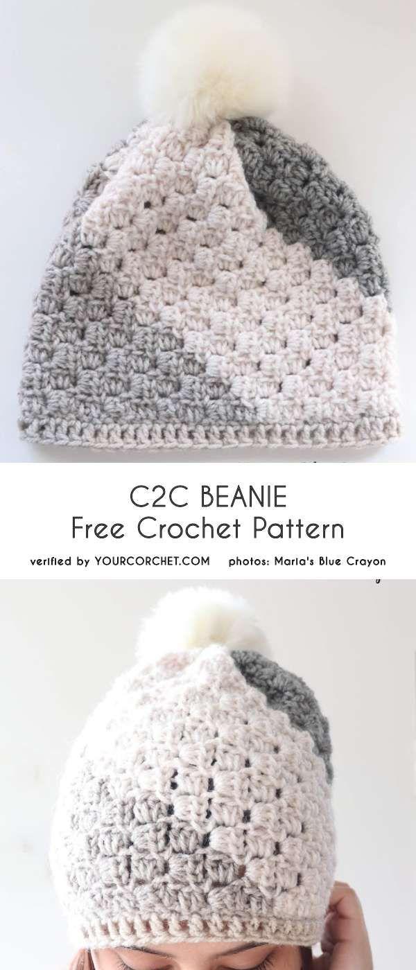 C2C Beanie Free Crochet Pattern | gorros | Ganchillo, Croché y ...