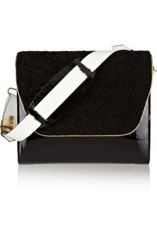 NewbarK | Scarlette shearling and patent-leather shoulder bag | NET-A-PORTER.COM
