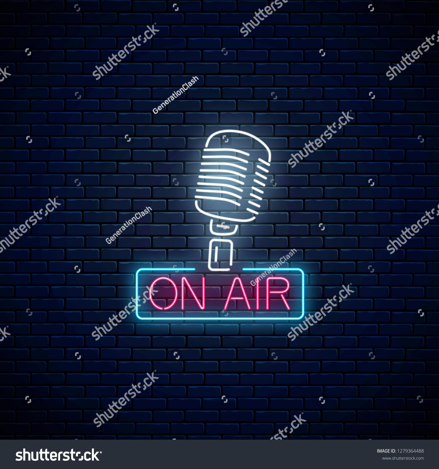 Neon on the air sign with retro microphone on dark brick