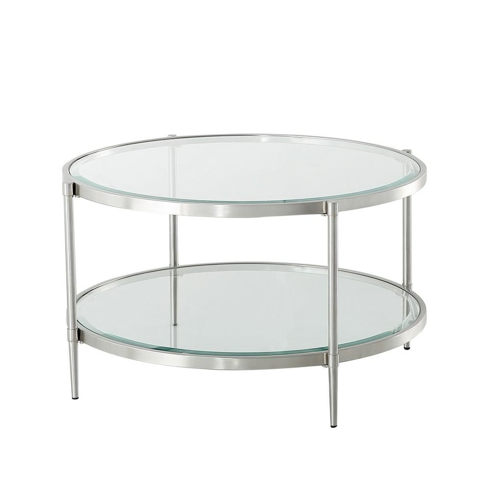 Boyel Living 48 In Clear Round Coffee Table With Tempered Glass Table Top And Storage Shelf Ct 1353c Br The Home Depot In 2021 Tempered Glass Table Top Coffee Table Display Coffee Table [ 1000 x 1000 Pixel ]