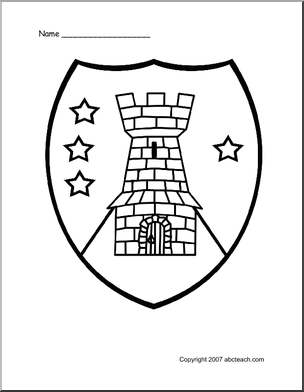 Tower Shield Design Medieval Shields Coloring Pages Medieval