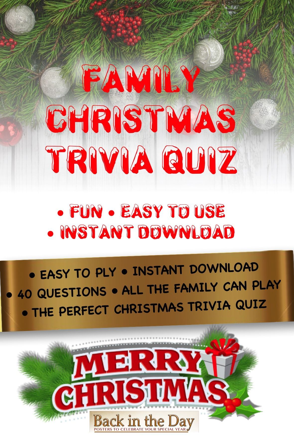 Christmas Trivia Quiz Game Christmas Trivia Party Game