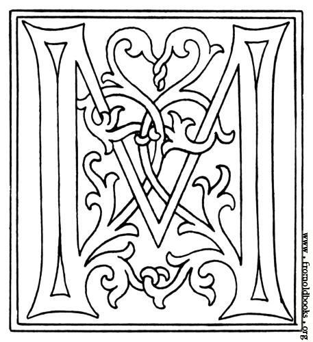 picture clipart initial letter m from late 15th century printed book