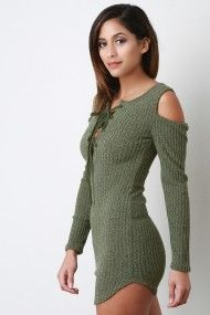 FREE SH & Easy Returns! Shop this bodycon dress features ribbed knit fabrication, lace-up v-neckline, long sleeves, cold shoulders, and rounded hemline.