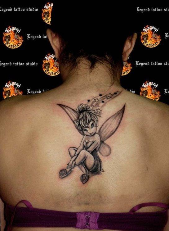 Tinkerbell Tattoo Upper Back Shoulder Disney
