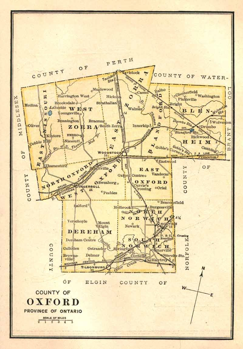 Map Of Oxford County Ontario Canada Oxford County Township Map 1885 | Genealogy map, Oxford county