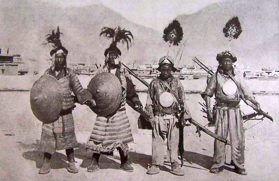 Tibetan soldiers, Lhasa, circa 1910. Shown with shields, matchlocks, helmets, mirror armor, mail shirts.
