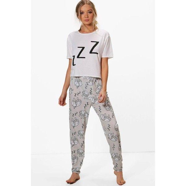 d8130dbda74e Boohoo Elise Sleeping Pug Crop   Legging PJs (42 AUD) ❤ liked on Polyvore