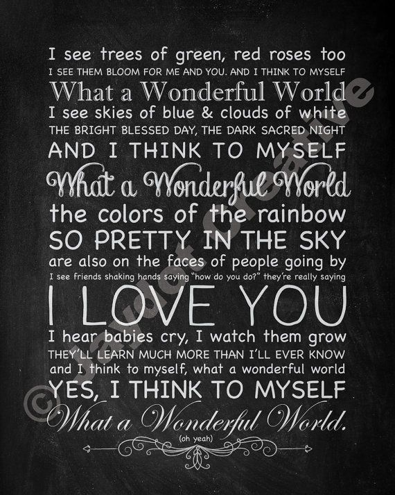 Louis Armstrong What A Wonderful World Printable Song Lyrics