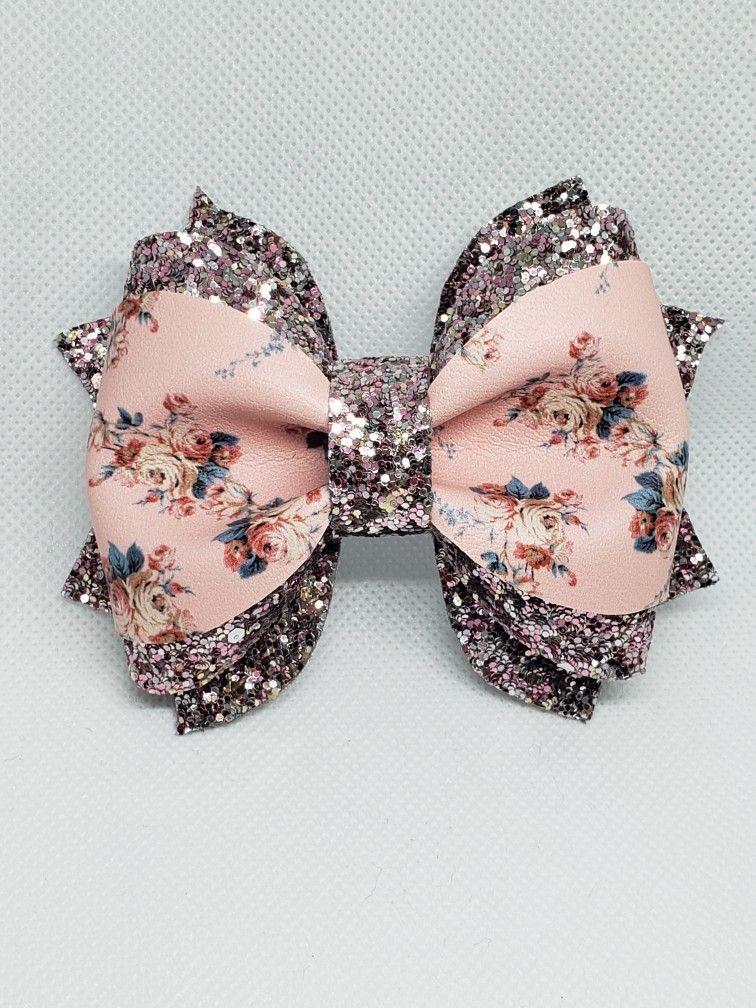 Girls Handmade pretty blue glitter bow hair Alice band