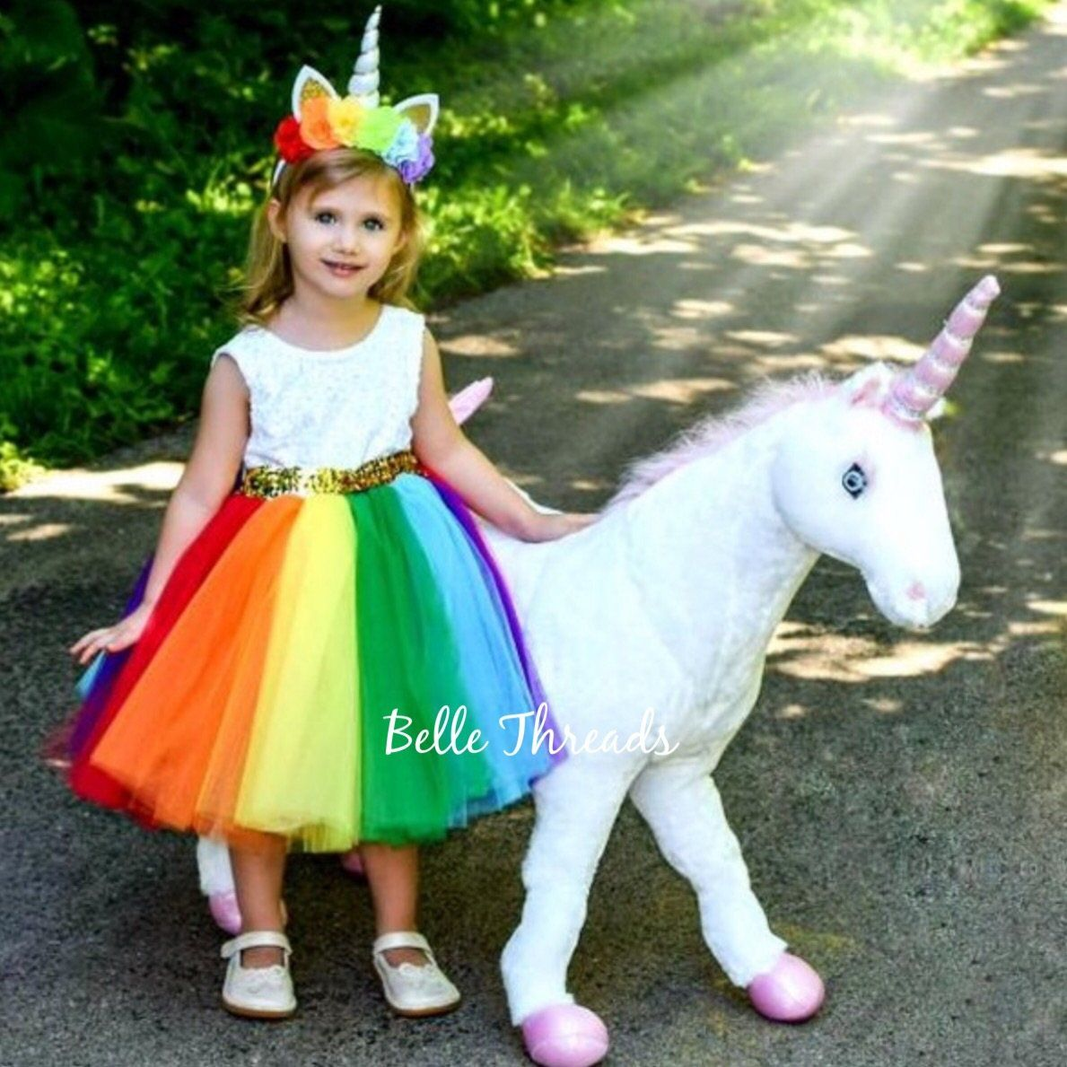 74b68df7c44 Princess Annie Bright Rainbow Tutu Dress – Belle Threads
