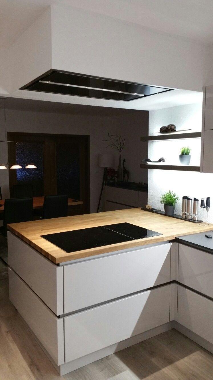 Nobilia Lux Seidengrau Mit Ikea Skogarp Eichenarbeitsplatte Kuche
