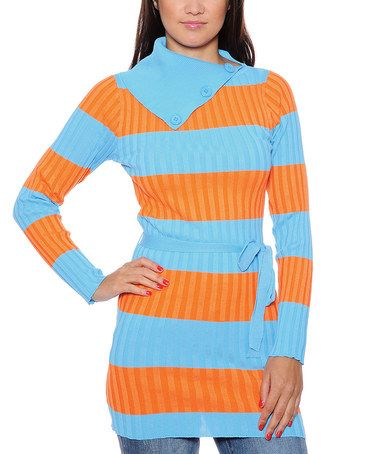 Take a look at this Aqua & Orange Stripe Turtleneck Tunic by True Rock on #zulily today!