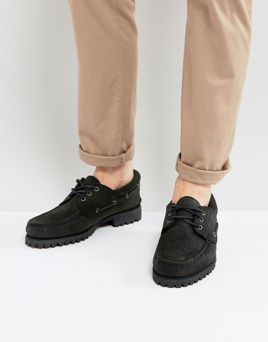 TIMBERLAND CLASSIC LUG BOAT SHOES IN BLACK BLACK