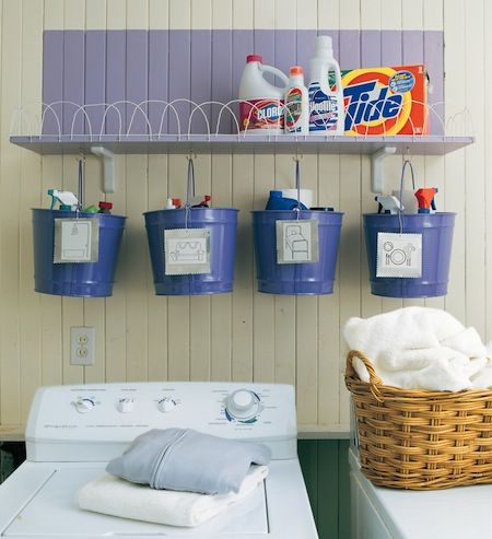 Put cleaning supplies for bedrooms, bathrooms, living room, etc. in pails so you just grab a pail and clean. Love this