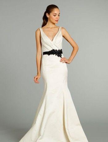 V-Neck Mermaid Wedding Dress with Natural Waist in Silk Duchess ...