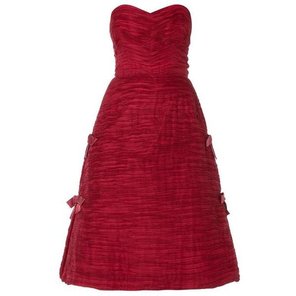 Preowned Sybil Connolly Burgundy Dress, Circa 1956 ($4,287) ❤ liked on Polyvore featuring dresses, red, pleated dress, vintage day dress, red layered dress, vintage couture dresses and red zip dress
