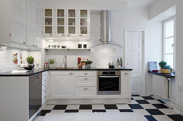 white kitchen floor tileAlluring Black And White Floor Kitchen