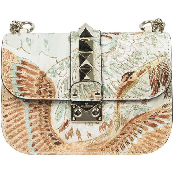 bca8aa1402 Valentino Garavani Leather Lock bag with Japanese Bird embroidery found on  Polyvore featuring bags, handbags, purses, nero, leather hand bags, ...