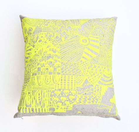 Boxed in 18x18 organic hand printed neon yellow and grey pillow 48 00