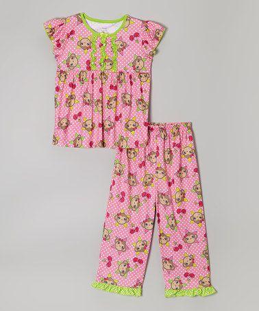 Look what I found on #zulily! Pink & Green Ruffle Monkey Pajama Set - Girls #zulilyfinds